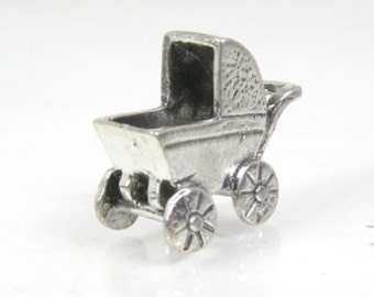 Estate Sterling Silver Dimensional Baby Buggy Stroller Ladies Charm 3.2g