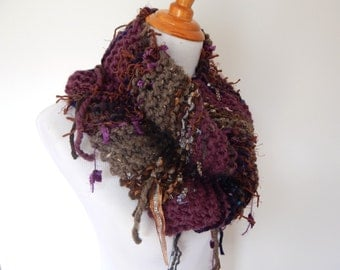 Chunky Knit Scarf - Infinity Scarf - Fringe Knit Cowl Scarf / The Jewel / Imported Fiber Art Scarf