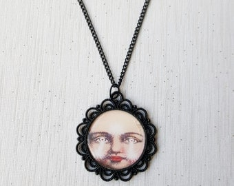 Creepy Doll Face Necklace SALE Black Macabre Gothic Jewellery