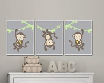 Monkey Nursery Wall Art Print, Green and Brown Jungle Nursery Prints, Baby Boy or Girl Nursery Wall Art Print, Bedroom Decor H1056