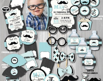 On Sale! Little Man Birthday Party Package,  Mustache Birthday Party, Mustache First Birthday,1st Birthday, Mustache party,Little man party