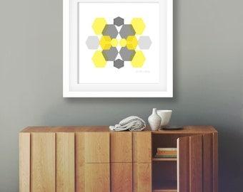 Minimalist art geometric art grey and mustard wall art modern home decor yellow poster hexagon artwork office wall decor living room decor