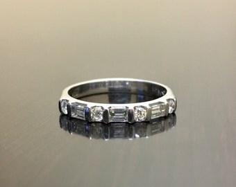18K White Gold Baguette Diamond Engagement Band - 18K Gold Diamond Wedding Band - Diamond Art Deco Band - Channel Set Diamond Band -