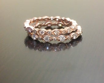 14K Rose Gold Eternity Diamond Engagement Band - Rose Gold Diamond Wedding Band - 14K Gold Diamond Stackable Ring - Rose Gold Eternity Band