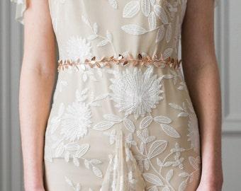 Delicate Leaf Sash, Rose Gold, Wedding Sash, Bridal Belt, Gold Leaf Sash, Bridal sash, leaf belt, greek goddess, boho, bohemian,  #401