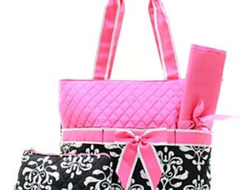 3 Piece Personalized Pink Damask Diaper Bag with Changing Pad And Cosmetic Case