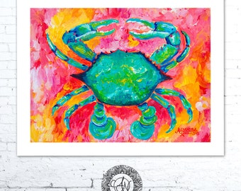 Blue Crab Art, Crab Print, Crab Painting, Nautical Decor, Coastal Art Print, Sea Creature Nursery, Crab, Beach House Decor, Coastal Wall Art