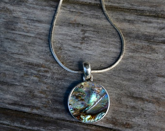 Sterling Silver Paua Shell Necklace