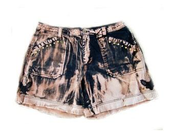 grunge shorts, Acid washed shorts, studded shorts, Black shorts -  size 16,  #229