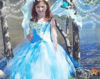 Flower girl dress - Tulle flower girl dress - Tulle dress- Blue Tutu Dress- Infant/Toddler - Pageant dress - tutu dress - Princess dress