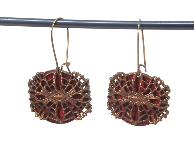 Hand Painted Red Filigree Dangle Drop Earrings Nickle Free Brass OOAK, One of a kind