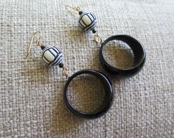 black hoops, black and white earrings, black and white hoop earrings, fun earrings, lightweight earrings, mod earrings, retro earrings, long