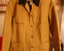 Mens Vintage Oshkosh Heavy Canvas Blanket Lined Tan Jacket Size 44R Fits Like Modern XL Fantastic Condition Metal Clover Buttons Made In US