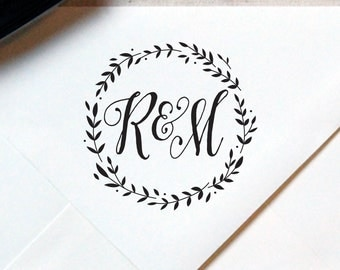 Monogram Stamp #5 - Wooden or Self-Inking - Calligraphy - Wreath - Personalized — INCLUDES HANDLE
