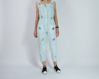 20% OFF SALE - 80s Style & Smile New York Patched Light Mint Street Style Women Jumpsuit / Size M