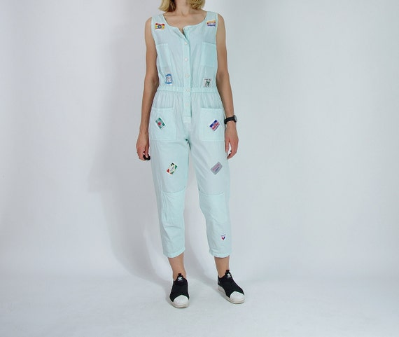 SALE - 80s Style & Smile New York Patched Light Mint Street Style Women Jumpsuit / Size M