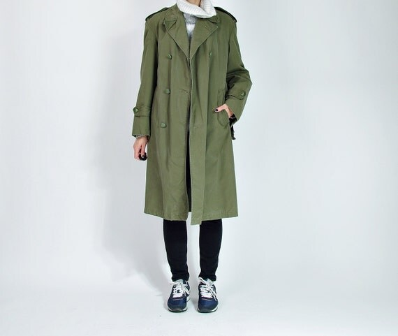 SALE - 1959 Montex Belgian Army Military Khaki Canvas Peacoat / Size M/L