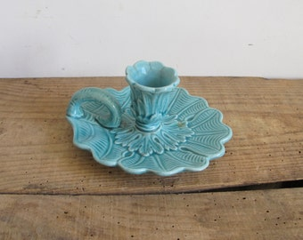 French ceramic Turquoise Candle holder • candlestick • chamberstick