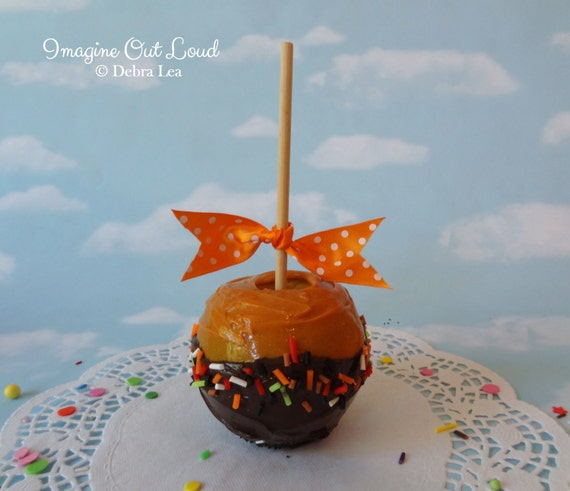 Faux Fake Realistic Caramel Apple Chocolate Sprinkles Home Decor Photo Prop