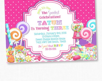Sweet Shoppe Cards, Candyland, Bubble Gum, Lalaloopsy Party, Candy Land, Sweet Shop Party, Lollipop, Girl Birthday Party, Girl Party Cards