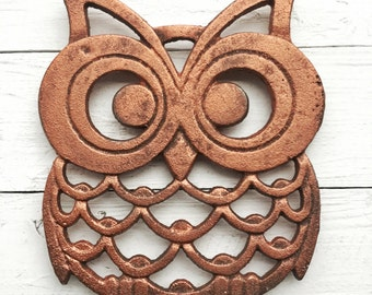 Owl  Trivet Cast Iron Owl Trivet, Owl Home Decor, Owl Kitchen Decor, Metallic Bronze, Rustic Home Decor , Copper