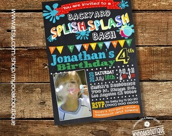Splish Splash Backyard Bash Pool Birthday Party Invitation Chalkboard Water Slide Photo Invite Digital Printable