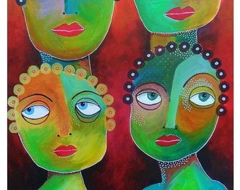 Quirky Art Print Colourful Faces People Funky Wall Decor Outsider Art Nursery Decor Childlike Jewel Colors Contemporary Paintings