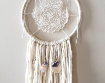The House by the Seashore -- 9 3/4 in. Yarn Dreamcatcher with Real Seashells