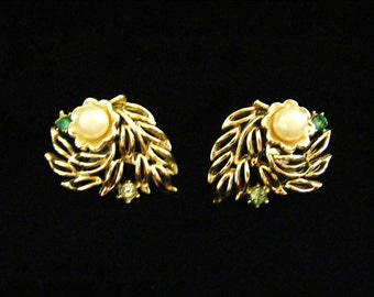 Vintage Gold tone Floral with Pearl and Green Rhinestone Clip on earrings by CORO