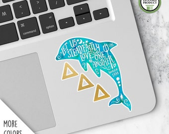 Delta Delta Delta | Small Dolphin Tri-Delta Decal | Sorority Big Little Reveal Gift | Official Licensed Product | DDD-SD