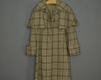Vintage 60s long trench coat wool checked beige and brown Ted lapidus - Made in France