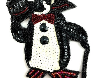 """Tuxedo Penguin with Top Hat and Cane, Sequin Beaded Appliqué, 4.75"""" x 3.75"""" -JJ952A-B324"""