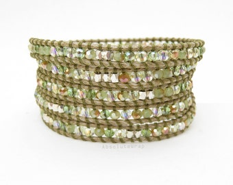 Green gold crystal wrap bracelet with silver plated beads on polyester cord, olive green