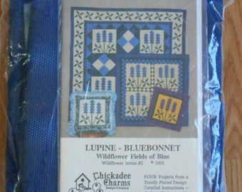 CHICKADEE CHARMS Lupine - BlueBonnet Quilt Pattern and Fabric Wildflower Series #2