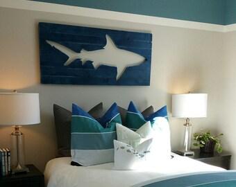 Distressed Shark Pallet Wall Art, Surf Decor, Beach Decor