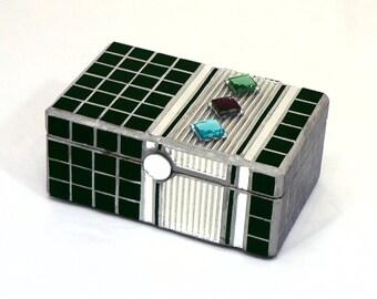 Glass Mosaic Jewelry Box - REDUCED / Art Deco / Black / Mirror / Artisan