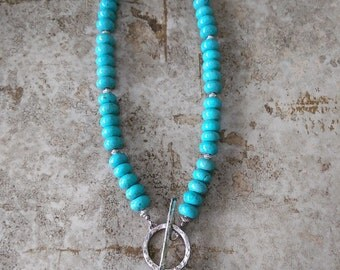 Turquoise Necklace with Silver accent beads and Hand Forged Clasp