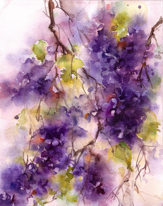 Abstract watercolor painting lilac blossoms painting by for Art sites like etsy