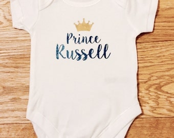 Personalised Prince or Princess - Babygrow / onesie/ all in one / bodysuit / New Baby Shower / Gift for Baby
