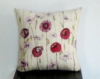Decorative Cushion Handpainted Pillow Silk Pillow Floral Pillow Cover Red Cushion Poppy Cover pillow Wedding Gift Decorative Pillows