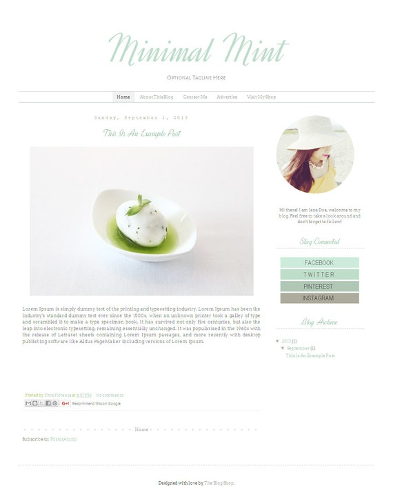 Fashion Blogger Template - Simple Clean Modern Blog Design - Blog Theme -  Blog Layout