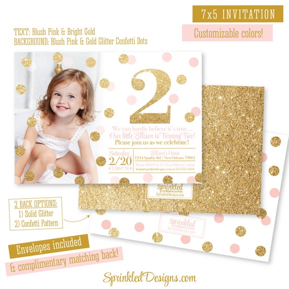 Pink And Gold 2nd Birthday Girl Invitation Photo Card