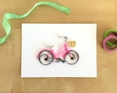 Quilling Paper Pink Bicycle Home Decor, Pink White Bike Art, Vintage Pink Bike, Hot Pink Bicycle, Old Fashioned Bike, Girls Pink Bicycle Art