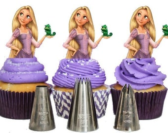 Your Cupcake is Her Dress Rapunzel Tangled cupcake Toppers Princess Birthday Party Decorations Set of 12 Unique and very cute