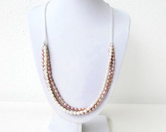 Freshwater pearl necklace, handmade in the UK