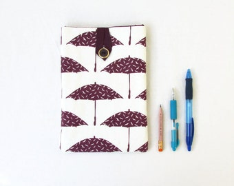Ipad mini case, dark purple umbrella hand printed fabric, handmade in the UK