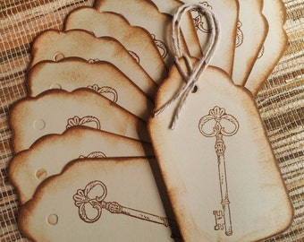 Guest Book Alternative Wedding wish tree tags,Key to a Happy Marrage tags Set of 12