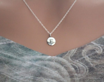 Sterling Silver Simple E Initial Necklace, Silver Stamped E Necklace, Stamped E Initial Necklace, Small E Initial Necklace, E Initial Charm