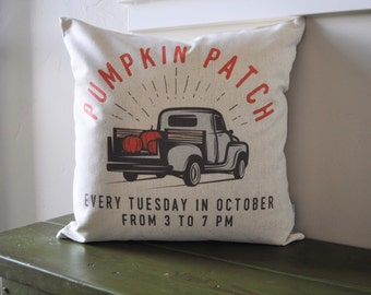 SALE- this weekend ONLY, Fall Pillow Cover, Pumpkin Patch, Fall Decor, Front porch pillow