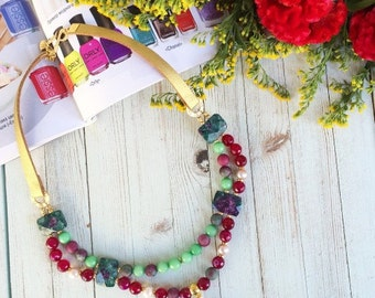 Pink Jade - Handmade Necklace -FREE SHIPPING-